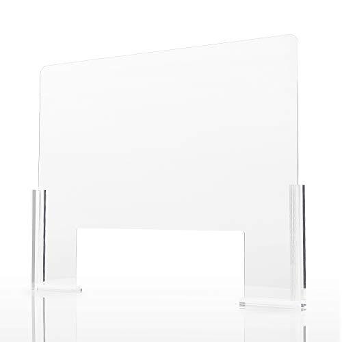 Adhesive Plexiglass Barrier for Counter - 1/8 Inch Thick | 32'x 24' W H Sneeze Guard | Plexiglass Shield for Desk | Clear Anti-Scratch Plexiglass Divider w/Transaction Window