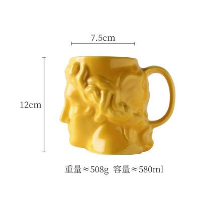 ZHKY Keramik-David-Kopf-Becher Großvolumige Altgriechisch Apollo Skulptur Cup Büro Personalisierte Kaffeetasse Desktop-Dekoration Retro Keramik-Schale mit Löffel (Color : Yellow 5)