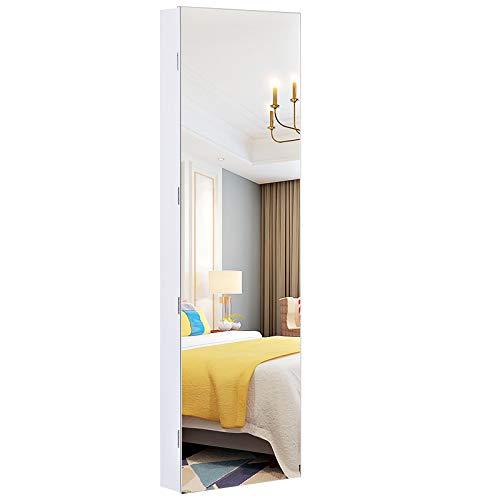 SONGMICS Schmuckschrank hängend Spiegelschrank mit LED-Innenbeleuchtung, Wandschrank mit Ganzkörperspiegel, Wandmontage, an der Tür hängend, Geschenk, weiß JJC99WT