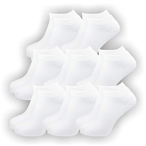 GAWILO 8 Paar Natur Baumwoll Sneaker Socken – Damen und Herren – 100prozent reine, naturbelassene Baumwolle – ohne Naht – kochfest – glatt gestrickt. (35-38, weiß)