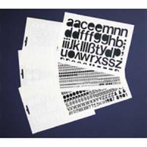 Collectievellen, folie cijfers 25 mm zwart met leestekens en speciale tekens, aantal cijfers: 0 = 4x, 1 = 6x, 2 = 3x 3 = 3x, 4 = 3x, 5 = 5x 6 = 3x, 7 = 4x, 8 = 3x 9 = 5x