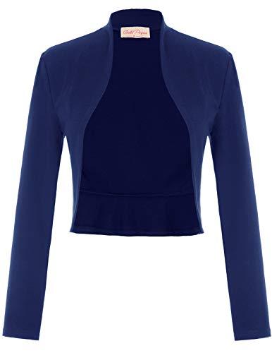 Belle Poque Festliche Bolero Damen Langarm Baumwolle schulterzucken Navyblau einfach Bolero Mode Shrug XL BP788-4