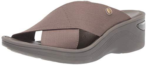 BZees Women's Desire Slides Sandal, Morel Stretch Fabric, 9 W US