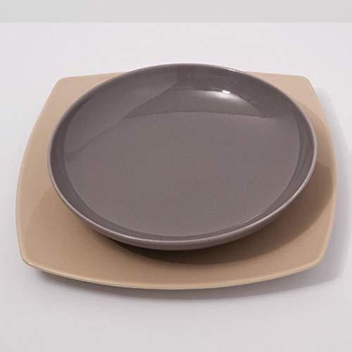 Assiettes creuses porcelaine Gris - D 22 cm - Siviglia x 6