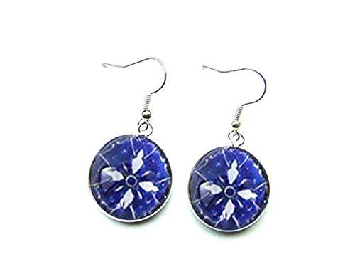 Sunshine Granada Pendientes Colgantes de Plata, Preciosos Pendientes de diseño árabe Azul y Blanco, azulejo español,