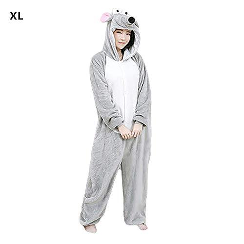 Pijama de una pieza con diseño de ratón, unisex, para mujeres y hombres, gris