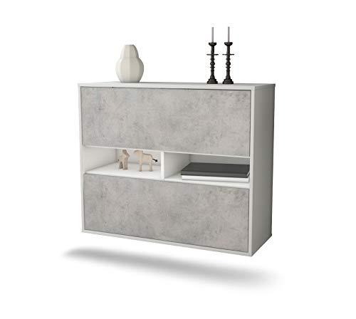 Dekati dressoir Jackson hangend (92 x 77 x 35 cm) romp, mat wit, voorkant beton look, push-to-open