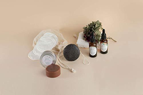 KIT DE CUIDADO FACIAL - Sérum, aceite botánico, jabón facial purificante, bálsamo labial, esponja, muselina, discos desmaquillantes - 100% ecológico y natural
