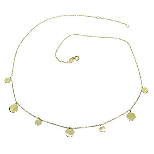 Never Say Never Collar de Moda de Oro Amarillo de 18k con Cadena Forzada y 7 círculos de Oro de 5 y 7mm de diámetro, 45cm de Largo. Gargantilla Ideal Mujer. 2.05gr de Oro de 18k