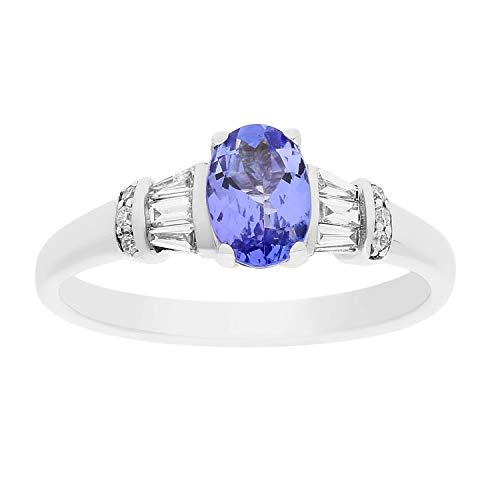 Gin & Grace Oro blanco 14K de zafiro rosa natural con diamante (I1, I2) Proponer la boda del compromiso de Promise Ring (Nº5) para la Mujer