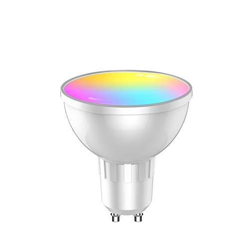 Bombilla LED WIFI Bluetooth Inteligente GU10, 5W Smart Lámpara, luz blanca cálida, 2700-6500 K+RGB, intensidad regulable, compatible con Alexa Google Home