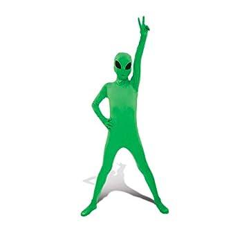 "Glow Alien Kids Morphsuit Fancy Dress Costume - size Large 4'-4'6""  120cm - 137cm"