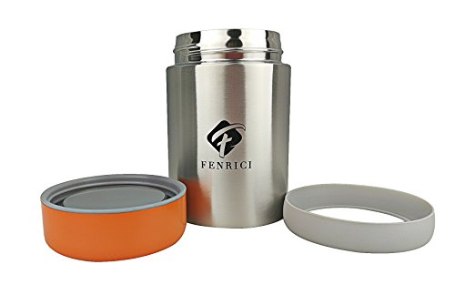 Thermos for Kids By Fenrici, 10 oz, No Plastic Contact With Hot Food, Hot or Cold Food Lunch Container For Kids, BPA-Free, Double-Wall, Durable Stainless Steel Vacuum Insulated Food Jar, Orange Lid