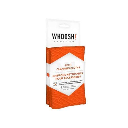 WHOOSH! Tech Cleaning Cloths, 3 Microfibre Cloths, Collect Dirt and Dust, Anti-Microbe Cloths, Phone and Computer Screen Cleaning, Screen Dirt Removal, Igienic Detergent, 35.6 x 35.6 cm