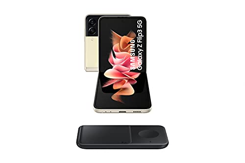Samsung Galaxy Z Flip3 5G - Smartphone sin Tarjeta SIM, Android, Plegable, 256 GB, Color Beige + Wireless Charger Dúo (ES Version)