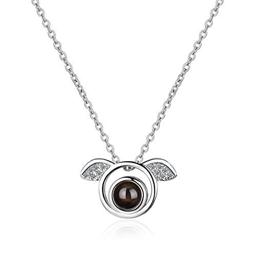 HCMA Collar de alas de ángel Lindo de Plata de Ley 925 para Mujer Proyección de Regalo Te Amo Collares significativos