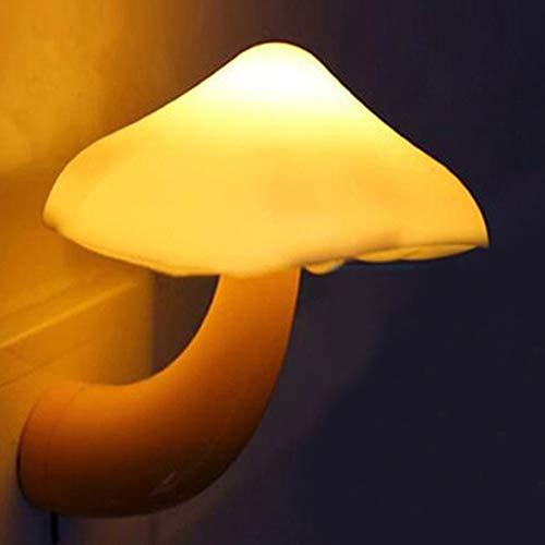 ESUPPORT Mushroom-Shaped Energy Saving Sensor LED Night Light with Plug Yellow(Average life expectancy 50000h)