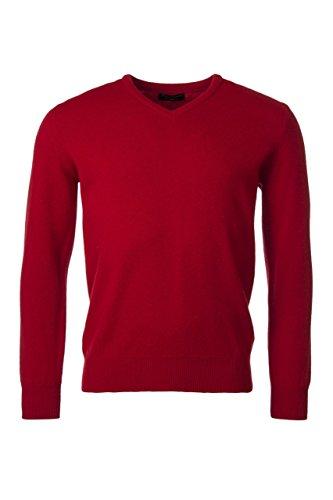 Great & British Knitwear Herren HM100 100% Lammwolle Pullover mit V-Ausschnitt, einfarbig. Made in Scotland-Dubonnet-Small