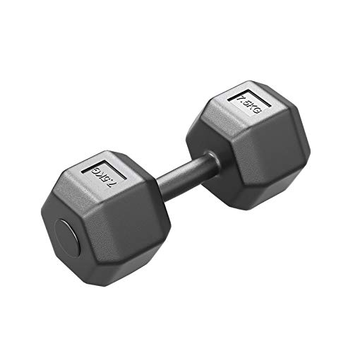 ailj Mancuernas Hexagonales Negras, Mancuernas De Ejercicio Y Fitness Adecuadas para Hombres Y Mujeres, Entrenamiento De Fuerza para Gimnasio En Casa (Color : Black-7.5kg, Size : Set of 2)