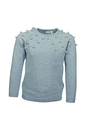 NAME IT Mädchen Pullover mit Perlen Sweatshirt Sweater Pulli NKDSEARLI LS Knit NOOS Strickpullover, Farbe:Blau, Größe:116