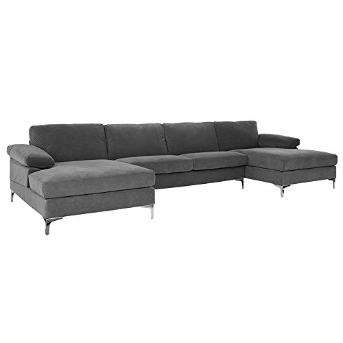 Casa AndreaMilano Modern Large Velvet Fabric U-Shape Sectional Sofa, Double Extra Wide Chaise Lounge Couch, Ash