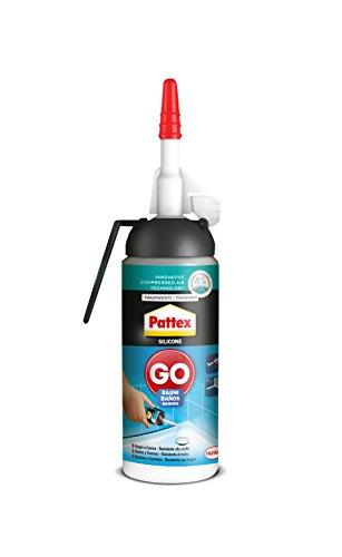 Pattex Silicona Go Baños, silicona transparente con aplicación fácil y precisa, silicona antimoho para baño y cocina, sellador de juntas impermeable, 1 x 100 ml (2246858)