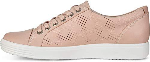 ECCO Women's Soft 7 Tie Sneaker, Rose Dust Nubuck Perforated, 39 M EU (8-8.5 US)