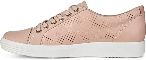 ECCO Women's Soft 7 Tie Sneaker, Rose Dust Nubuck Perforated, 39 M EU (8-8.5 US)
