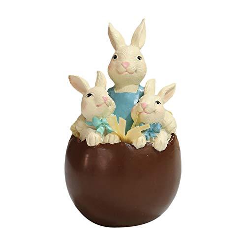 Aosong Decoración de conejo de Pascua, decoración de primavera, Pascua, chocolate, huevo de conejo, adorno de tarro de caramelos, figuras de mesa para fiestas en casa, vacaciones, regalo fabuloso