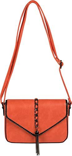 styleBREAKER dames schoudertas in enveloppenontwerp met bolletjes, ketting en kwastje, schoudertas, handtas, tas 02012274, Farbe:Oranje