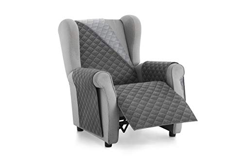 Textilhome - Housse Fauteuil Protecteur Malu, Taille 1 Places/Relax. Housse Matelasse Réversible. Couleur Grey