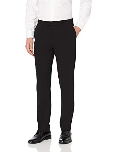 Van Heusen Men's Flex Straight Fit Flat Front Pant, Black, 36W x 30L