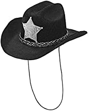 Widmann Srl WDM68570 Mini Cowboy Hat with Black Felt Sheriff's Star and Caps for Adults Multi-Coloured