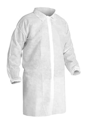 AMZ bata de laboratorio desechable de 114 x 150 cm. Abrigo de polipropileno para adultos. Abrigo blanco 3XL con mangas largas y muñecas elásticas, sin bolsillos. Ropa unisex no estéril. Uniforme de laboratorio para hombres y mujeres.