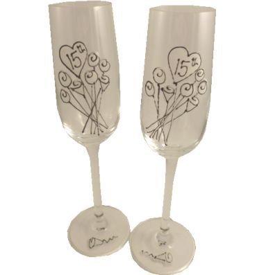 15ème Mariage Cristal Anniversaire Paire de Flûtes à Champagne Fleur