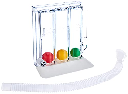 GIMA ref 33442 Entrenador respiratorio Respirogram, dispositivo para ejercer la respiración por inhalación con base, 3 bolas diferentes, una parte central transparente tripartida, tubo y boquilla ✅