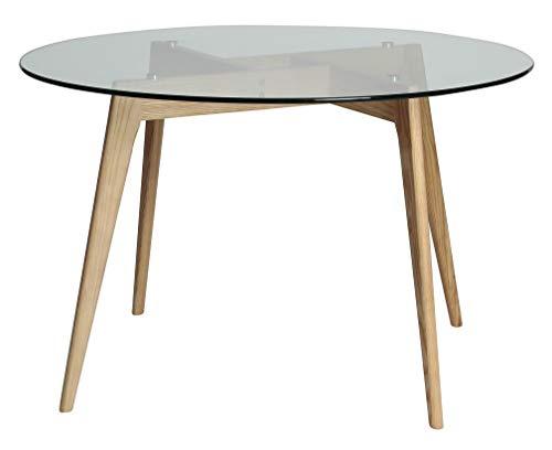 ambiato, eettafel, rond, 120 cm, keukentafel, vergadertafel, tafel, glastafel, wildeiken of zwart 120cm wildeiken