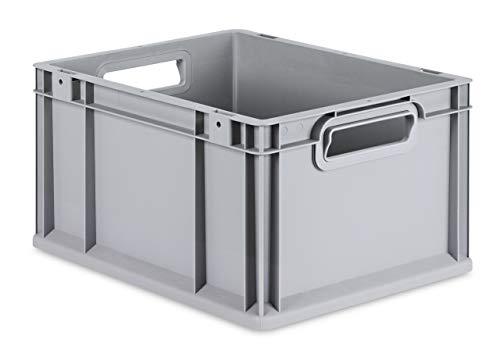 aidB Eurobox NextGen Grip, 400x300x220 mm, Griffe offen, robuste Plastikbox aus Kunststoff mit ergonomischen Griffen, stapelbare Kunststoffkiste, ideal für die Industrie, 1St.