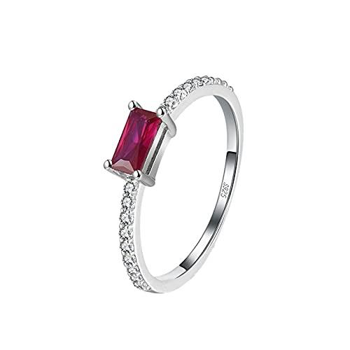 minjiSF Anillo cuadrado de diamante para mujer, pulido fino, hermoso y minimalista, anillo de temperamento, anillo de compromiso para mujer, anillo de compromiso (plata)
