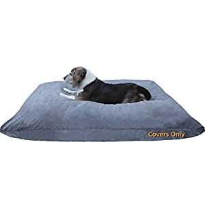 Dogbed4less Do It Yourself DIY Pet Bed Pillow Duvet Suede Cover + Waterproof Internal case for Dog/Cat at Large 48″X29″ Gray Color – Covers only