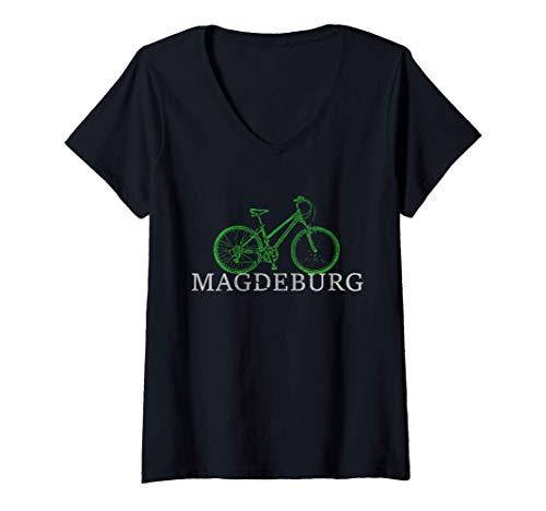 Damen Grüne Mobilität - Nachhaltig mit dem Fahrrad in Magdeburg T-Shirt mit V-Ausschnitt