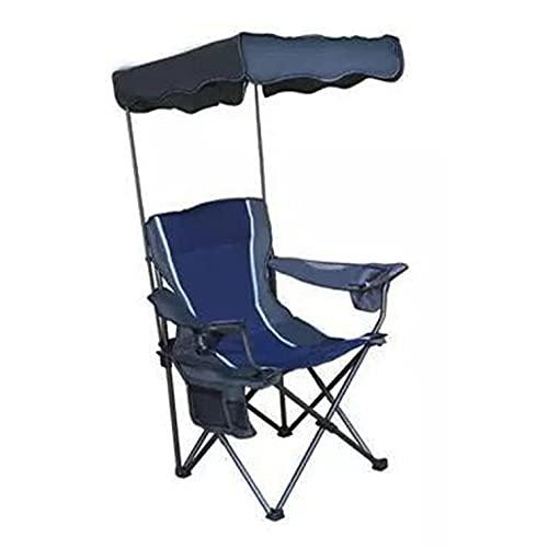 Silla de campamento plegable con parasol para exteriores,con portavasos,sillas de playa,con dosel ajustable en varias posiciones Silla de mochilero con protección Solar,Blue-camp chair