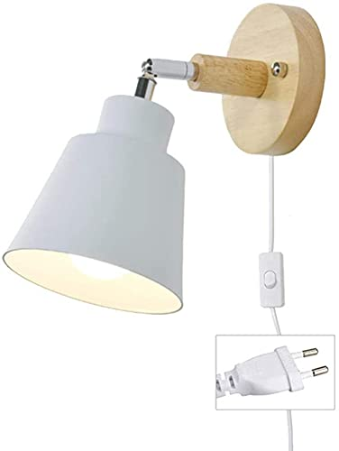 TXSAGL Lámpara de pared con enchufe de cable Lámpara de lectura de cabecera E27 que gira libremente Lámpara de pared interior con interruptor para dormitorio, foco de sala de estar (blanco)
