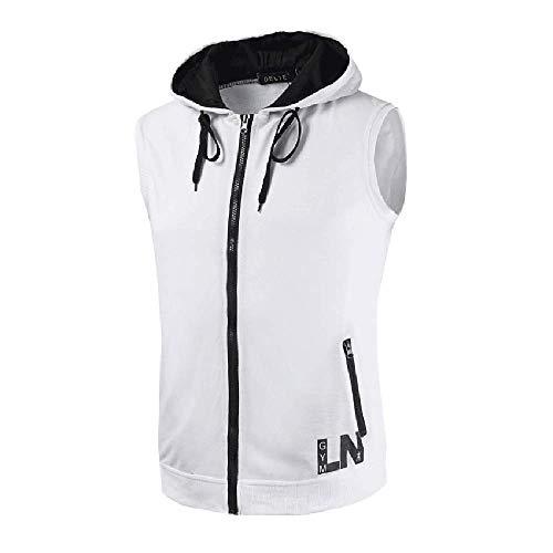 AIALTS vest zonder mouwen met capuchon voor heren, maat L, modieus, casual, mouwloos, met ritssluiting, trainingshirt, wit, XXXXL