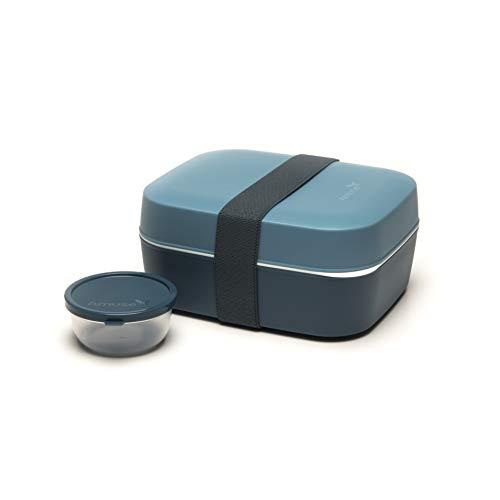 Amuse Unterteilte Bento Box 3 in 1, graublau, für Kinder und Erwachsene, Brotdose und Salatbox mit zwei Etagen und Extra-Behälter für Dressing, Früchte oder Joghurt