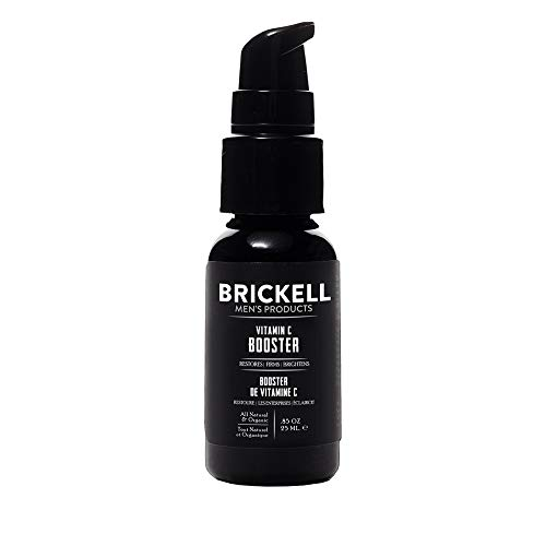 Brickell Men's Vitamin C Booster Serum for Men, Natural and Organic Vitamin C Booster for Face to Ramp Up Collagen Production, Fight Wrinkles and Aging.85 oz, Unscented