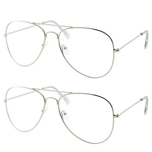 2 Pack | Blue Light UV Blocking Computer Glasses | Retro Aviator Style | Reduce Eye Strain Anti Glare Clear Lens Video Gaming Eyeglasses Men and Women (2 Silver)