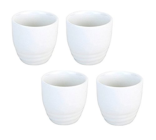 Happy Sales HSSCP-WHT4, Set of 4 White Porcelain Sake cups 1.5 oz