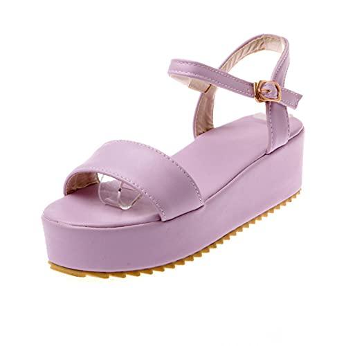 Sandalias de plataforma para mujer Peep Toe Playa Antideslizante Impermeable Zapato Ajustable Hebilla de Tobillo Correa para Vestido, Purple, 37 EU