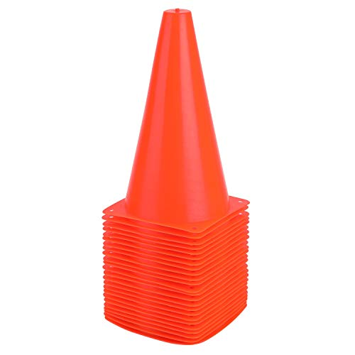 9 Inch Plastic Training Traffic Cones, 24 Pack Sport Cones, Agility Field Marker Cones for Soccer Basketball Football Drills Training, Outdoor Activity or Events - Orange